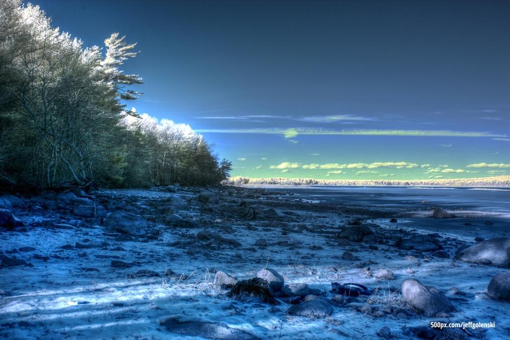 Infrared Photo of Copicut Reservoir, Fall River, Massachusetts