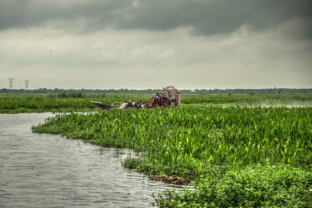 An airboat skims across the Bayou.