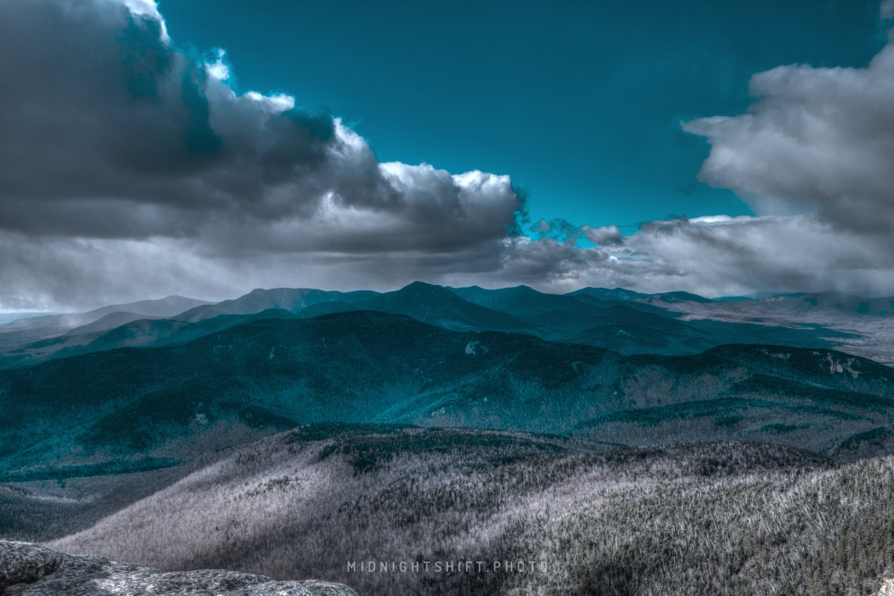 Snow at the summit of Mt. Chocorua in New Hampshire.
