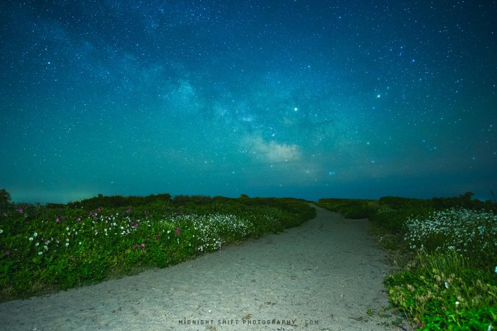 The Milkyway Galaxy above Gooseberry Island in Westport, Massachusetts.